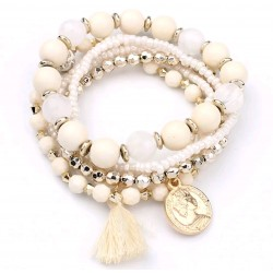 Multi bracelets perles blanches