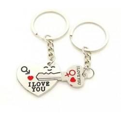 """Porte-clefs Duo Amour, modèle """"Coeur rouge + clef"""""""