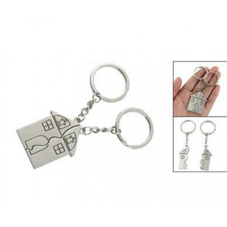 """Porte-clefs Duo Amour, modèle """"Maison"""""""